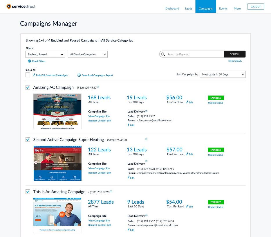 mySD Campaigns Manager – contractor lead generation advertising software screenshot