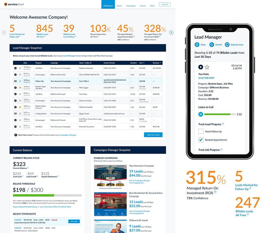 mySD Dashboard – contractor lead generation advertising software screenshot