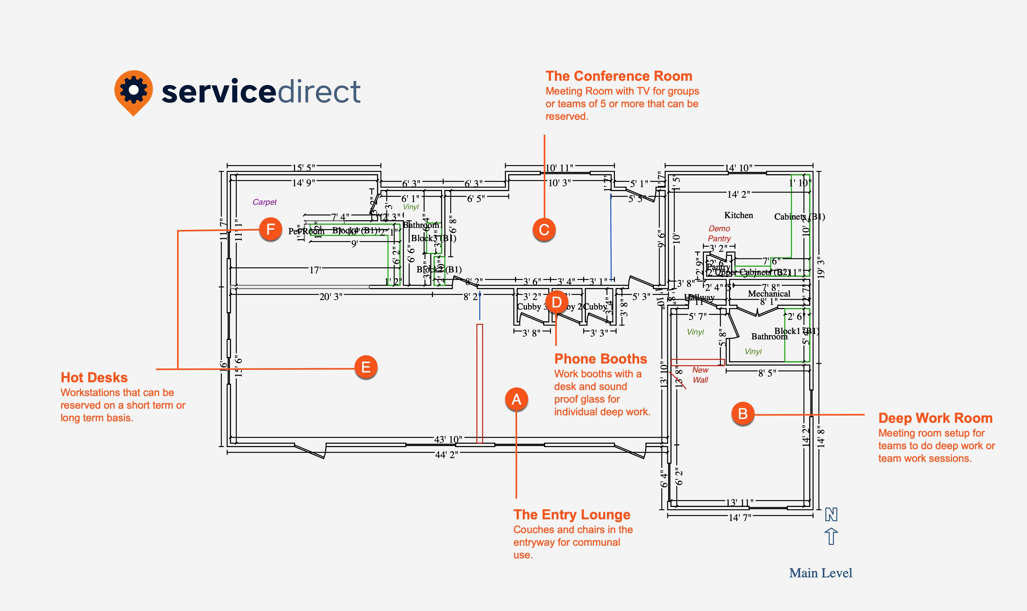 Service Direct Hybrid Office Floor Plan 2021