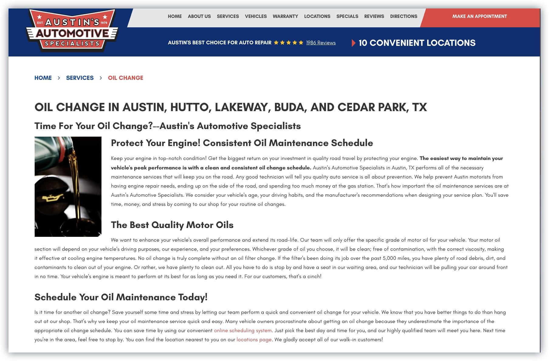 Example Service Specific Auto Shop Page