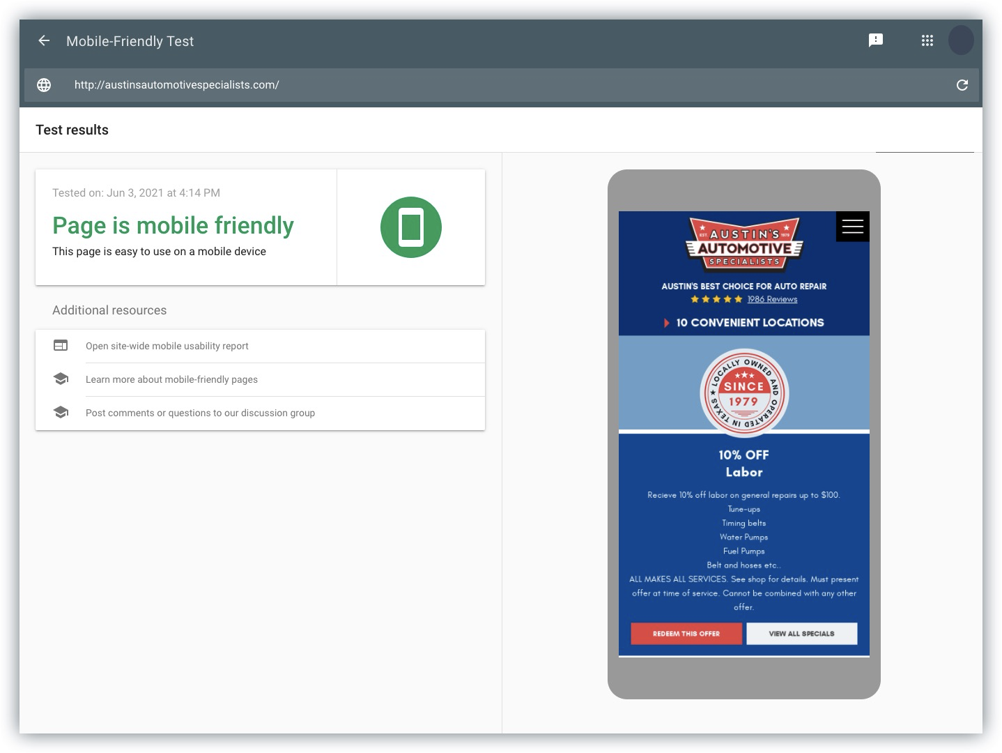 Example Mobile Friendly Test